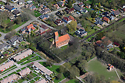 Nederland, Groningen, Gemeente Delfzijl, 01-05-2013; wierdedorp Bierum (wierde=terp). Romaansekerk, Sebastiaankerk, middeleeuwen.<br /> Village on dwelling Mound, north-east Holland.<br /> luchtfoto (toeslag op standard tarieven);<br /> aerial photo (additional fee required);<br /> copyright foto/photo Siebe Swart