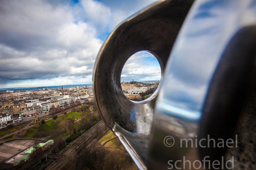 Calton Hill seen from the barrel of The One O'Clock Gun on the Edinburgh Castle Esplanade.