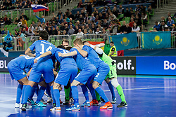 Players of team Kazakhstan during futsal semifinal match between National teams of Kazakhstan and Spain at Day 9 of UEFA Futsal EURO 2018, on February 8, 2018 in Arena Stozice, Ljubljana, Slovenia. Photo by Urban Urbanc / Sportida