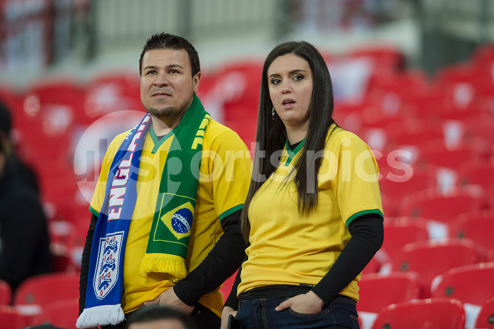 Brazil fans ahead of the international friendly match between England and Brazil at Wembley Stadium, London, England on 14 November 2017. Photo by Darren Musgrove.