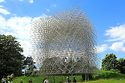 The Hive artwork sculpture at Royal Botanic Gardens, Kew, London, England, UK designed by Wolfgang Buttress