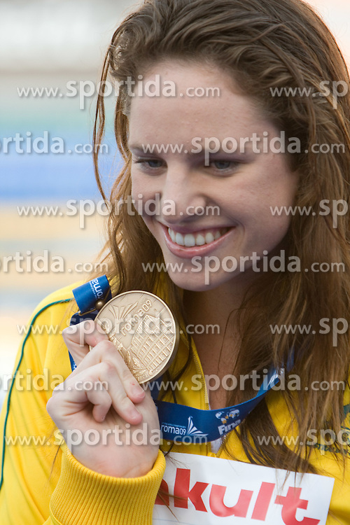 Third placed Emily Seebohm of Australia at the victory ceremony after the Women's 100m Backstroke Final during the 13th FINA World Championships Roma 2009, on July 28, 2009, at the Stadio del Nuoto,  in Foro Italico, Rome, Italy. (Photo by Vid Ponikvar / Sportida)