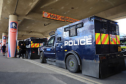 27 May 2017 - Then FA Cup Final - Arsenal v Chelsea - Armoured Police vehicles parked up at Wembley Stadium - Photo: Marc Atkins / Offside.