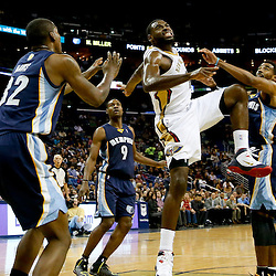 Dec 13, 2013; New Orleans, LA, USA; New Orleans Pelicans point guard Tyreke Evans (1) injures his ankle on a play in the final seconds of the second quarter of a game against the Memphis Grizzlies at New Orleans Arena. Mandatory Credit: Derick E. Hingle-USA TODAY Sports