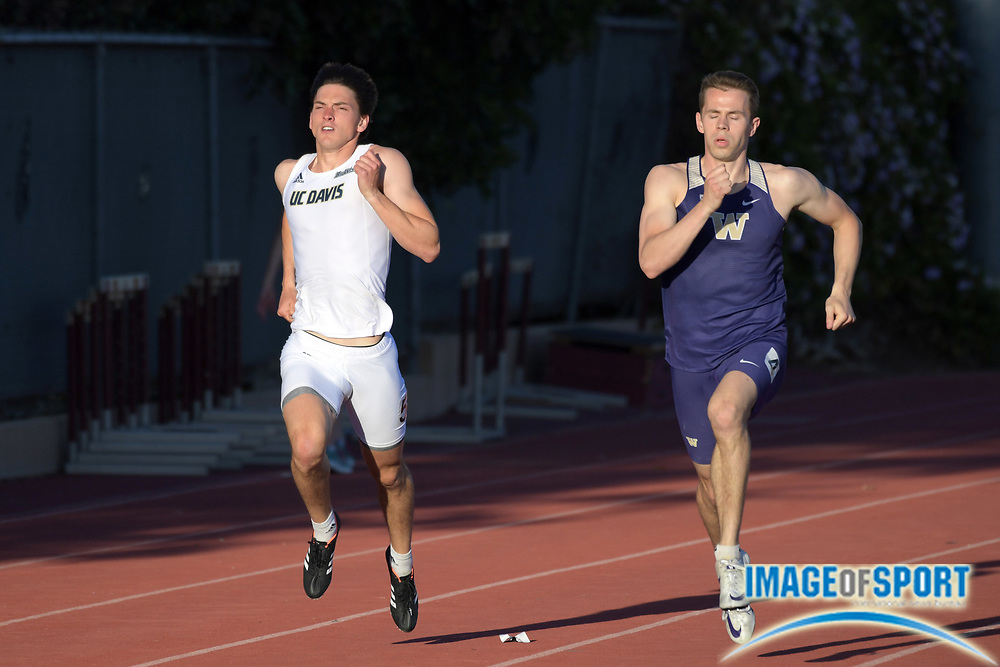 Klyle Cllancy of UC Davis (left) and Parker Kennedy of Washington runs in the decathlon 400m during the Bryan Clay Invitational in Azusa, Calif., Wednesday, April 17, 2019.