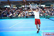 Sopot, Poland - 2018 April 08: Marcin Matkowski from Poland throws the t-shirt while Men's Double Match Nr 3 during Poland v Zimbabwe Tie Group 2, Europe/Africa Second Round of Davis Cup by BNP Paribas at 100 years of Sopot Hall on April 08, 2018 in Sopot, Poland.<br /> <br /> Mandatory credit:<br /> Photo by © Adam Nurkiewicz / Mediasport<br /> <br /> Adam Nurkiewicz declares that he has no rights to the image of people at the photographs of his authorship.<br /> <br /> Picture also available in RAW (NEF) or TIFF format on special request.<br /> <br /> Any editorial, commercial or promotional use requires written permission from the author of image.