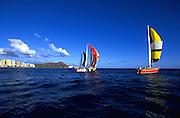 Sailboats, Waikiki, Honolulu, Oahu, Hawaii, USA<br />