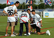 KAPOLEI - FEBRUARY 9:  Rod Woodson, former defensive back for the Pittsburgh Steelers and other NFL teams, coaches his team in a NFL legends flag football game during the 2006 NFL Pro Bowl week at the Ko Olina resort on February 9, 2006 in Kapolei, Hawaii. ©Paul Spinelli/SpinPhotos *** Local Caption *** Rod Woodson