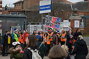 National Health Service (NHS) Junior Doctors under the banner of the British Medical Association (BMA) man a picket line outside The Maudsley Hospital in Camberwell, south London. The one-day strike is over pay and working conditions, the first such industrial action in 40 years.