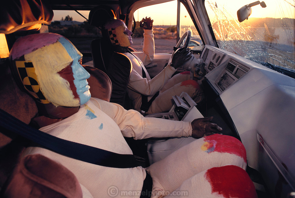 Failure Analysis Associates, Inc. (an engineering and scientific consulting firm now called Exponent). Dummies after crash for governmental seatbelt certification. Phoenix, Arizona.