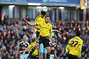 Daniel Ayala of Middlesbrough clears an incoming corner during the Sky Bet Championship match between Burnley and Middlesbrough at Turf Moor, Burnley, England on 19 April 2016. Photo by Simon Brady.