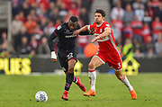 Aston Villa striker Jonathan Kodija (22) battling with Middlesbrough defender George Friend (3) during the EFL Sky Bet Championship match between Middlesbrough and Aston Villa at the Riverside Stadium, Middlesbrough, England on 12 May 2018. Picture by Jon Hobley.