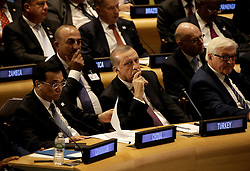 (L to R) The Premier of the State Council of the People's Republic of China, Li Keqiang, the President of Turkey Recep Tayyip Erdoƒüan and the German Federal Minister for Foreign Affairs, Frank-Walter Steinmeier attend a Leaders Summit for Refugees during the United Nations 71st session of the General Debate at the United Nations General Assembly at United Nations headquarters in New York City, NY, USA, September 20, 2016. Photo by Peter Foley/Pool/ABACAPRESS.COM