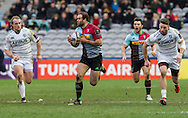 Jamie Roberts makes a break, Harlequins v Cardiff Blues in a European Challenge Cup match at Twickenham Stoop, Twickenham, London, England, on 17th January 2016