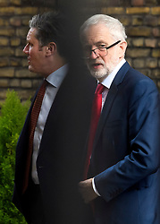 © Licensed to London News Pictures. 25/03/2019. London, UK. Labour Party leader JEREMY CORBYN is seen with Shadow Brexit secretary KIER STARMER (left) at the Houses of Parliament, before a meeting with Prime Minster Theresa May. There have been reports of a cabinet revolt against Prime Minister Theresa May, over her handing of the Brexit negotiations.  Photo credit: Ben Cawthra/LNP