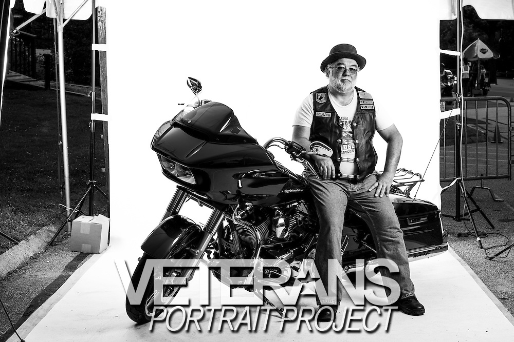 Larry Fredrickson<br /> Army<br /> E-4<br /> Electronic Repair<br /> Sept. 1976 - Sept. 1980<br /> <br /> Veterans Portrait Project<br /> Laconia, NH<br /> Laconia Bike Week