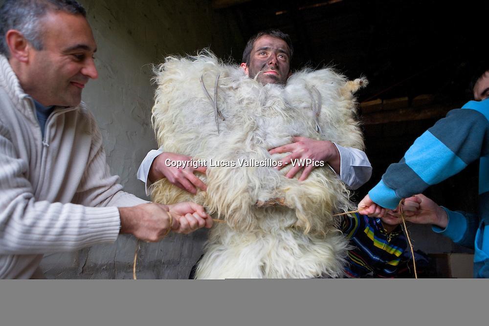 `La Vijanera´carnival,preparing the carnival, Silio, Molledo. Cantabria, Spain.