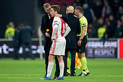 Carel Eiting #8 of Ajax, Ass. coach  Arthur Numan after the Europa League match R32 second leg between Ajax and Getafe at Johan Cruyff Arena on February 27, 2020 in Amsterdam, Netherlands