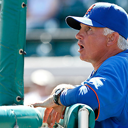 March 14, 2012; Lakeland, FL, USA; New York Mets manager Terry Collins (10)watches batting practice before a spring training game against the Detroit Tigers at Joker Marchant Stadium. Mandatory Credit: Derick E. Hingle-US PRESSWIRE