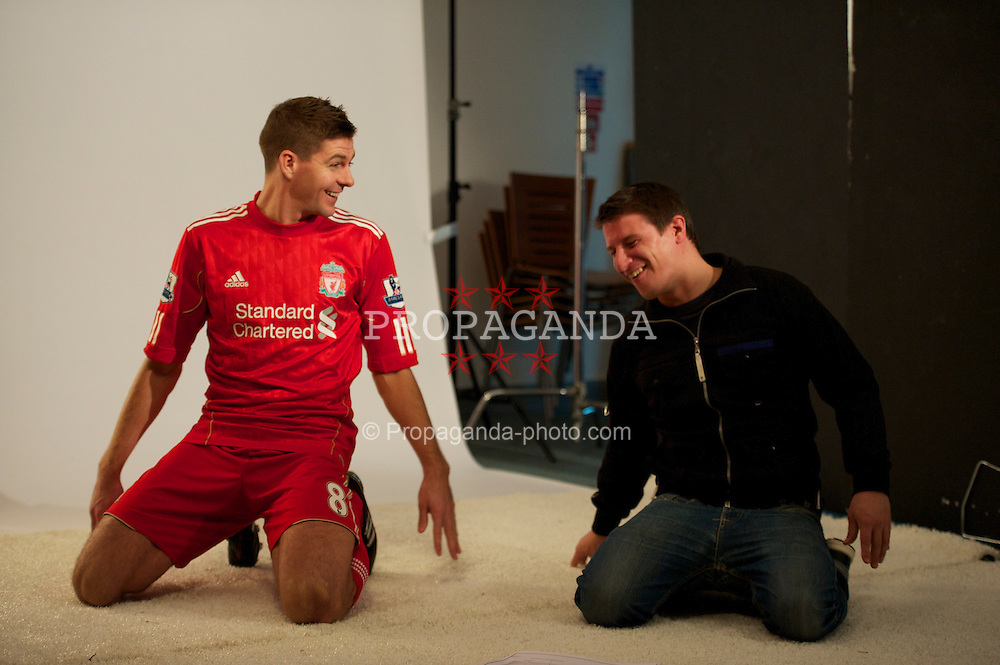 LIVERPOOL, ENGLAND - Thursday, October 14, 2010: Liverpool's captain Steven Gerrard MBE during an Adidas photo shoot. (Pic by David Rawcliffe/Propaganda)
