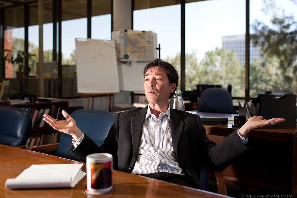 Jeff Light, new vice president and editor of the San Diego Union Tribune, answers questions from VoiceofSanDeigo.org reporter Rob Davis in Light's U-T office in Mission Valley, May 04, 2010.