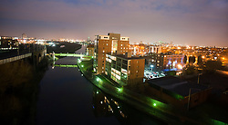 View of Manchester By Night from the Water street area with Bridgewater way on the left looking towards Old Trafford the home of Manchester United..www.pauldaviddrabble.co.uk..29 January 2012 -  Image © Paul David Drabble