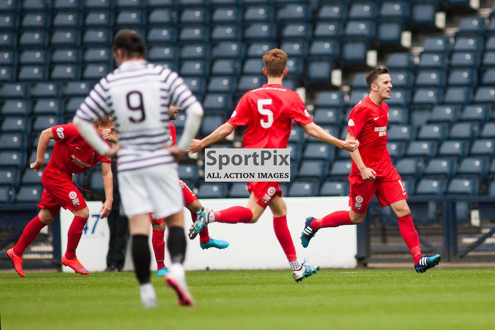 Graham Webster (Montrose 11) celebrates scoring the only goal of the match in the Queen's Park v Montrose SPFL2 at Hampden Park on 03 October 2015<br />(c) Russell G Sneddon / SportPix.org.uk