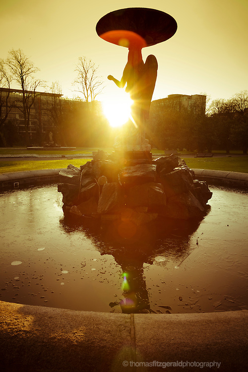 A Statue and Fountain in Iveagh Gardens, Dublin, at Sunset