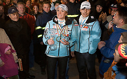 Slovenian athlete Petra Majdic and her coach Ivan Hudac in her home town when she arrived home with small cristal globus at the end of the nordic season 2008/2009, on March 24, 2009, in Dol pri Ljubljani, Slovenia. (Photo by Vid Ponikvar / Sportida)