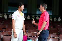Glenn Mcgrath chats with Mitchell Starc  during a nets session at Sydney Cricket Ground. PRESS ASSOCIATION Photo. Picture date: Tuesday January 2, 2018. See PA story CRICKET Australia. Photo credit should read: Jason O'Brien/PA Wire. RESTRICTIONS: Editorial use only. No commercial use without prior written consent of the ECB. Still image use only. No moving images to emulate broadcast. No removing or obscuring of sponsor logos.