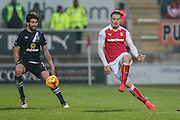 Danny Ward (Rotherham United) plays the ball forward during the EFL Sky Bet Championship match between Rotherham United and Blackburn Rovers at the AESSEAL New York Stadium, Rotherham, England on 11 February 2017. Photo by Mark P Doherty.