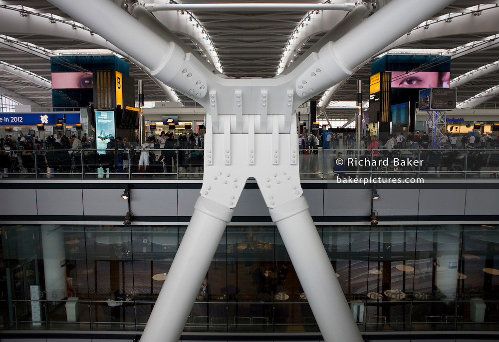 One of Arup's 'torso nodes' help support 50 ton tusk rafters to made Heathrow airport's T5 largest free-standing building in UK