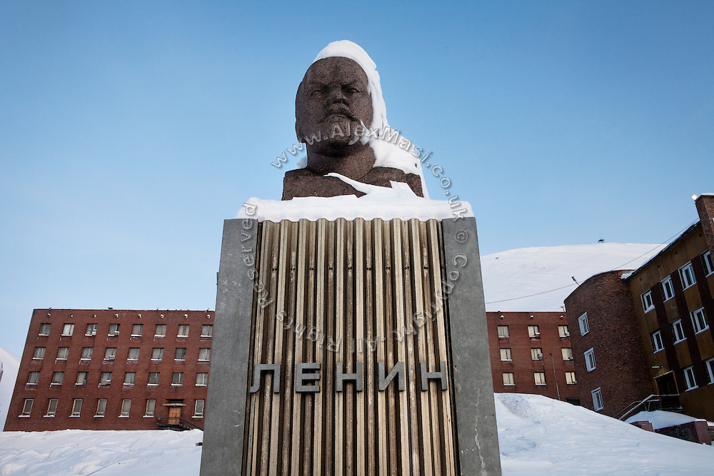 A statue of Lenin dominates the main square in the Russian coal mining community of Barentsburg, in the Norwegian Arctic archipelago of Svalbard.