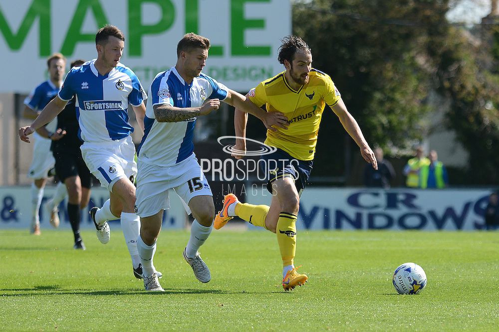 Danny Hylton and James Clarke battle for the ball during the Sky Bet League 2 match between Bristol Rovers and Oxford United at the Memorial Stadium, Bristol, England on 6 September 2015. Photo by Alan Franklin.