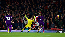 LONDON, ENGLAND - Saturday, November 3, 2018: Liverpool's goalkeeper Alisson Becker is beaten as Arsenal score the equalising goal during the FA Premier League match between Arsenal FC and Liverpool FC at Emirates Stadium. The game ended in a 1-1 draw. (Pic by David Rawcliffe/Propaganda)