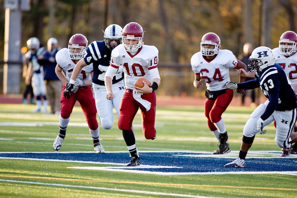 The Taft School, Watertown, CT. November 12, 2011. Taft vs Hotchkiss varsity football..(Photo by Robert Falcetti)..Admissions marketing & communications photography-New England Private Independent School-Alumni magazine photography  ... .