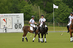 HRH THE DUKE OF CAMBRIDGE (number 4) and PRINCE HARRY (number 1) playing polo at the Audi Polo Challenge at Coworth Park, Blacknest Road, Ascot, Berkshire on 31st May 2015.