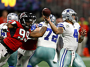 Adrian Clayborn with his Atlanta Falcons team record 6th sack against Dak Prescott and the Dallas Cowboys
