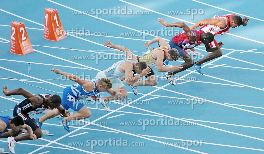 LEICHTATHLETIK: EM 2010, 100m, Barcelona, 27.07.2010<br />Start (v.l.): Arman Andreasyan (ARM), James Dasaolu (GBR), oni Rautanen (FIN), Gregor Kokalovic (SLO), Christian Blum (GER), Jaysuma Saidy Ndure (NOR) und Ryan MOSELEY (AUT)<br />&copy; pixathlon<br />AUT-NED-FRA OUT !
