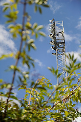 A floodlight at Rochdale AFC, Spotland Stadium - Photo mandatory by-line: Dougie Allward/JMP - Mobile: 07966 386802 23/08/2014 - SPORT - FOOTBALL - Manchester - Spotland Stadium - Rochdale AFC v Bristol City - Sky Bet League One