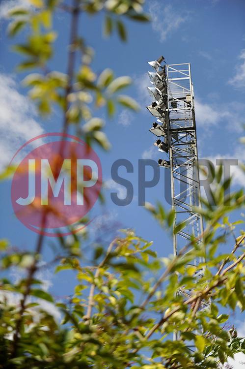 A floodlight at Rochdale AFC, Spotland Stadium - Photo mandatory by-line: Dougie Allward/JMP - Mobile: 07966 386802 23/08/2014 - SPORT - FOOTBALL - Manchester - Spotland Stadium - Rochdale AFC v Bristol City - Sky Bet League One