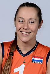 06-05-2014 NED: Selectie Nederlands zitvolleybal team vrouwen, Leersum<br /> In sporthal De Binder te Leersum werd het Nederlands team zitvolleybal seizoen 2014-2015 gepresenteerd / Elvira Stinissen