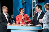 """02 JUN 2010, BERLIN/GERMANY:<br /> Olaf Scholz, SPD, Stellv. Fraktionsvorsitzender, Elke Ferner, SPD, stellv. Fraktionsvorsitzende und Bundesvorsitzende der Arbeitsgemeinschaft Sozialdemokratischer Frauen, und Hubertus Heil, SPD, Stellv. Fraktionsvorsitzender, und Judith Schulte-Loh, Moderatorin, (v.L.n.R.), SPD Zukunftswerkstatt """"Gut und sicher leben - Onlinekonferenz"""", Willy-Brandt-Haus<br /> IMAGE: 20100602-01-057"""