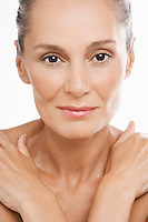 Beauty portrait of youthful looking mature woman
