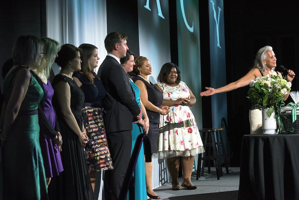 Jennifer Neubauer, Ohio University's Assistant Vice President of Alumni Relations, recognizes her team during the Ohio University Black Alumni Reunion Gala held at the Baker Center Ballroom on Friday, September 16, 2016.