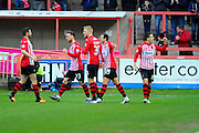 Exeter City's James Hamon celebrates after scoring the equalising goal during the Sky Bet League 2 match between Exeter City and Accrington Stanley at St James' Park, Exeter, England on 23 January 2016. Photo by Graham Hunt.