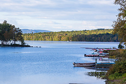 Sea planes on Lower Shin Pond near Shin Pond Village in Maine's northern forest. International Appalachian Trail.