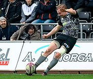 Luke Price of Ospreys attempts a conversion<br /> <br /> Photographer Simon King/Replay Images<br /> <br /> European Rugby Challenge Cup Round 5 - Ospreys v Worcester Warriors - Saturday 12th January 2019 - Liberty Stadium - Swansea<br /> <br /> World Copyright © Replay Images . All rights reserved. info@replayimages.co.uk - http://replayimages.co.uk