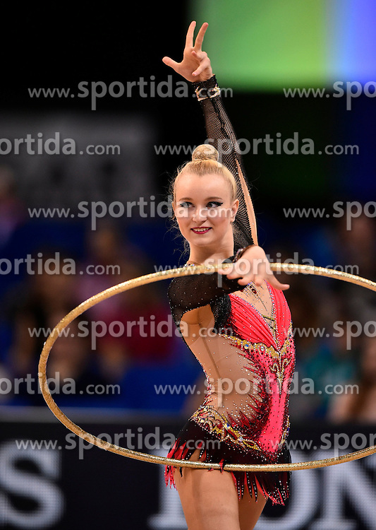 07.09.2015, Porsche Arena, Stuttgart, GER, Gymnastik WM, im Bild Stephani Sherlock (GBR) Reifen // during the World Rhythmic Gymnastics Championships at the Porsche Arena in Stuttgart, Germany on 2015/09/07. EXPA Pictures &copy; 2015, PhotoCredit: EXPA/ Eibner-Pressefoto/ Weber<br /> <br /> *****ATTENTION - OUT of GER*****