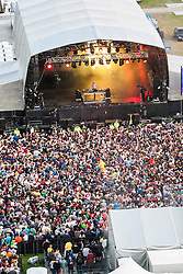 "Fatboy Slim plays the main stage on Friday night, Rockness 2013, the annual music festival which took place in Scotland at Clune Farm, Dores, on the banks of Loch Ness, near Inverness in the Scottish Highlands. The festival is known as ""the most beautiful festival in the world""."